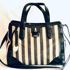LONDON FOG Skylar Black Striped Satchel Bag
